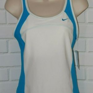 NWT Nike Performance M White/Blue Racerback Tank
